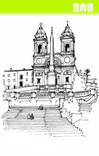 钟楼欧式建筑素描画图片