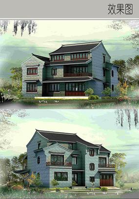 中式别墅建筑效果图
