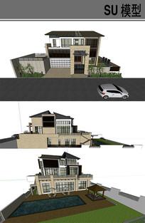 中式别墅模型