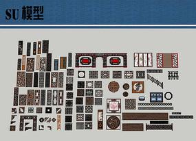 中式雕花合集SU模型