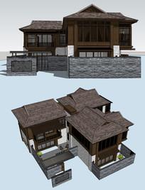 中式民宿建筑SU