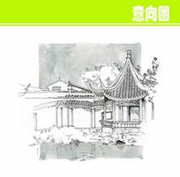 中式亭子素描画