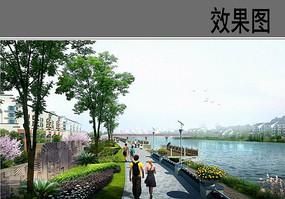 滨水游步道透视效果图