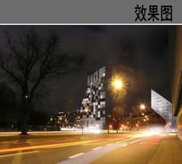 高层住宅建筑夜景效果图