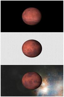 火星自转特写视频素材带通道视频