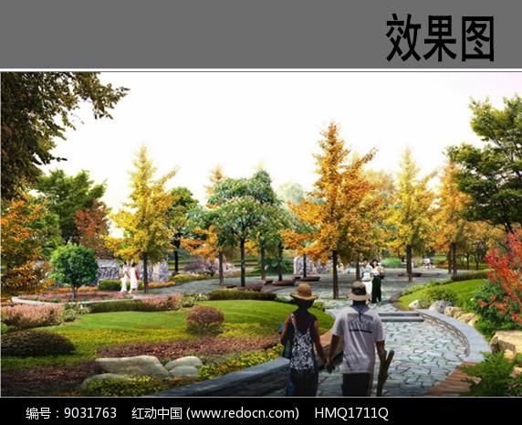 街旁小游园景观效果图图片