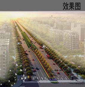 市政道路绿化鸟瞰图