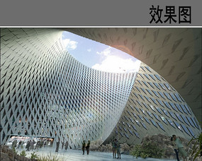 图书馆建筑中庭效果图 JPG