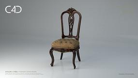 中式花纹C4D椅子模型