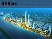 滨江新城夜景鸟瞰图
