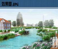 滨水开放空间景观效果图