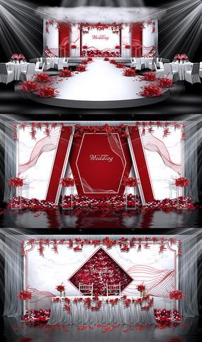 红白主题婚礼背景PSD源文件设计