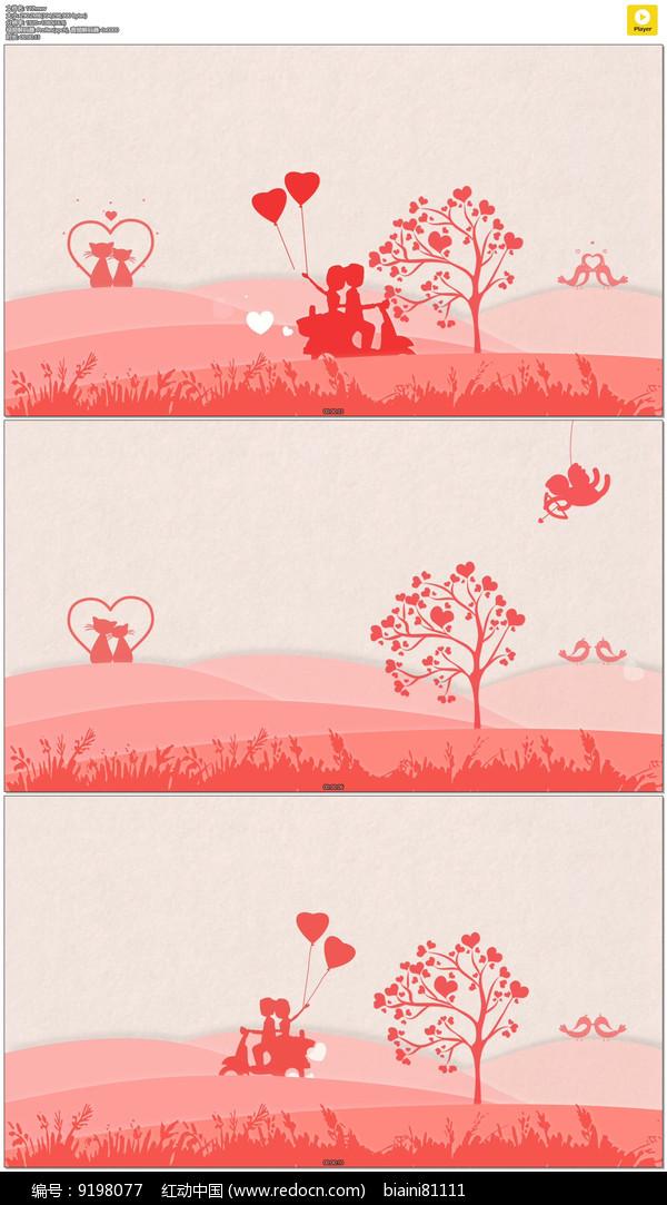 红色卡通情人节婚礼背景视频图片