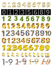 金属效果数字字体