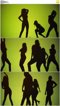 一群美女跳舞剪影视频素材