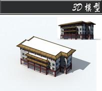 白红色藏式建筑3d模型图片