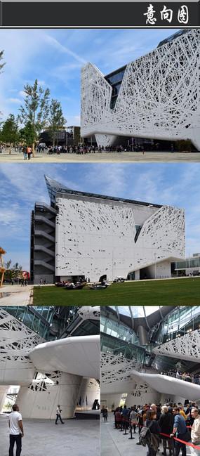 白色树杈创意外形建筑意向图