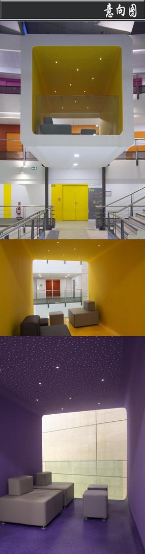 白色小方格创意办公空间意向图