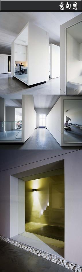 白色正方形长方形创意办公空间
