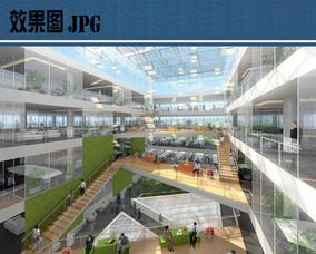 办公楼建筑中庭效果图