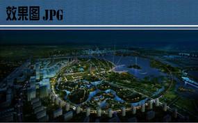 滨水景观夜景鸟瞰图