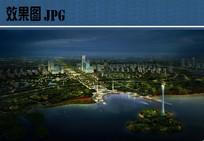 滨水景观夜景鸟瞰效果图