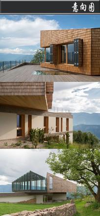 玻璃建筑与瓦片建筑拼接意向图 JPG