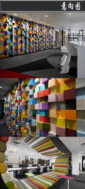 彩色方格背景墙办公室意向图