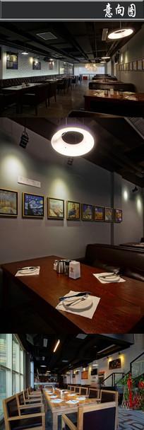 创意油画装饰咖啡厅意向图
