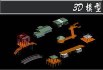 各种简易木亭子3D模型