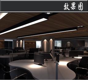 古典办公室开放办公区效果图