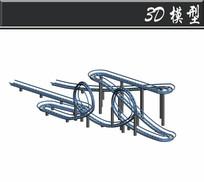过山车轨道游乐设施3D模型