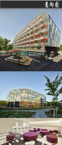 红白拼接创意建筑意向图 JPG