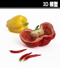 红黄辣椒3D模型