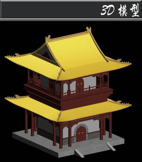 黄色屋檐双层塔3D模型
