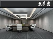 混凝土现代风会议室效果图