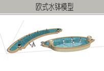 弧形道路喷泉 skp