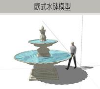 精简小型两层水钵模型 skp