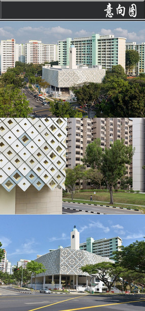 三角仿古创意建筑意向图 全灰色砖铺贴建筑意向图 欧式整齐建筑意向图