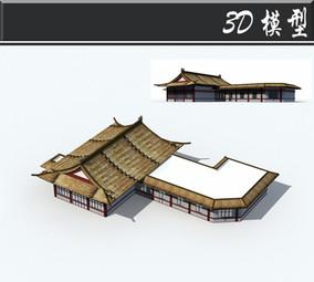 茅草屋顶中式建筑3D模型