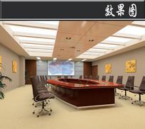 某部队综合作业楼会议室效果图