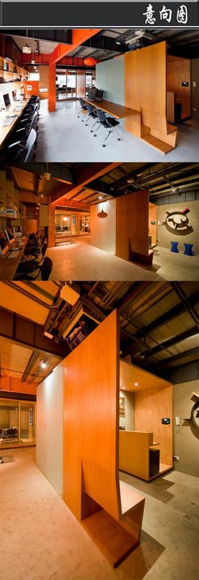 木头方格创意办公室意向图