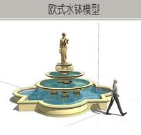女神雕塑叠泉水钵 skp