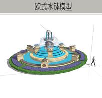 欧式圆形大型喷泉 skp