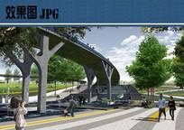 桥下景观效果图