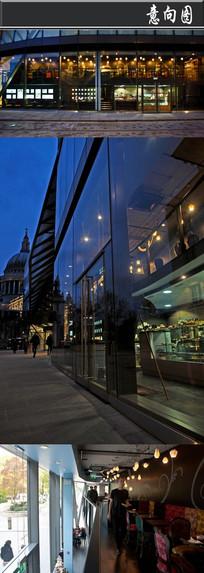 全透明复古印花咖啡厅意向图