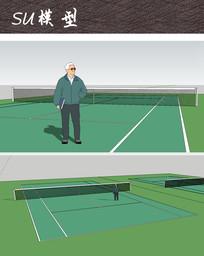 室外网球场SU skp