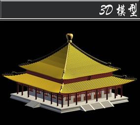 双层黄色屋檐3D模型
