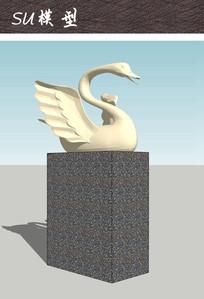 天鹅雕塑小品SU