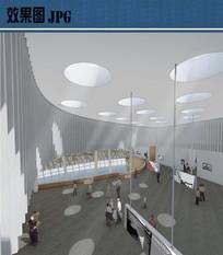 文化馆美术展厅室内效果图
